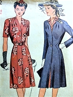 1940s FAB Dress and COAT Pattern SIMPLICITY 4662 Pretty Dress Flattering Princess Coat Bust 36 WW II War Time Vintage Sewing Pattern FACTORY FOLDED