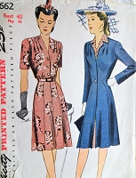 1940s Vintage PRETTY V-Neck Dress and Matching Coat Simplicity 4662 Sewing Pattern Bust 40