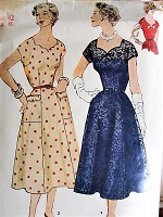 1950s Vintage GLAMOROUS Cocktail Dress Simplicity 4667 Sewing Pattern Bust 42