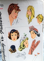 1940s WW II Hats and Gloves Pattern SIMPLICITY 4700 Fabulous Styles from the 2nd World War,Hats,Gloves,Hatpins,Millinery Vintage Sewing Pattern