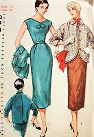 ALLURING 1950s Fitted Dress and Jacket Simplicity 4765 Bust 32 Vintage Sewing Pattern