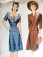 1940s Vintage BEAUTIFUL Two Piece Suit with Detachable Collar Simplicity 4736 Sewing Pattern Bust 34