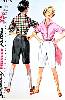 1950s CLASSIC High Waist Bermuda Walking Shorts,Doris Day Style Blouse Pattern SIMPLICITY 4746 Figure Flattering Casual Beach Resort Wear Bust 34 Vintage Sewing Pattern