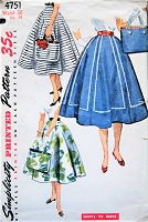 1950s LOVELY Full Skirt and Tote Bag Pattern SIMPLICITY 4751 Flattering Rockabilly Six Gored Skirt and Charming Simple To Make Tote Purse Handbag ,Waist 30 Vintage Sewing Pattern