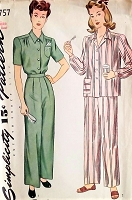 1940s Two Pc Pajamas Pattern SIMPLICITY 4757 Pleated Trousers and Tailored Shirt Top Bust 36 Vintage Sewing Pattern