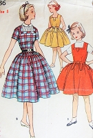 1950s PRETTY Girls Dress and Jumper Pattern SIMPLICITY 4786 Button Tab Details Full Skirt Dress or Jumper Size 8 Vintage Childrens Sewing Pattern