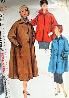 1950s FABULOUS Coat Pattern SIMPLICITY 4840 Lovely Wing Collar,Raglan Sleeves, 3 Lengths Bust 41 Vintage Sewing Pattern