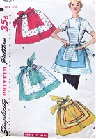 CUTE 1950s One Yard Apron Pattern SIMPLICITY 4857 Hostess half Aprons and Bib Apron Vintage Sewing Pattern