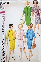 1960s CLASSIC Skirt and Jacket in Three Styles Simplicity 4859 Bust 36 Vintage Sewing Pattern