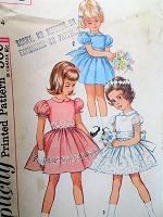 1960s SPECIAL OCCASION Little Girls Dress Pattern SIMPLICITY 4870 Perfect Flower Girl  Party Dress Size 4 Childrens Vintage Sewing Pattern