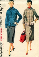 1950s STYLISH Suit Pattern SIMPLICITY 4871 Boxy Jacket and Slim Skirt Suit Bust 34 Vintage Sewing Pattern