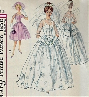 1960s ROMANTIC Mad Men Era Wedding Gown Bridal Dress Pattern SIMPLICITY 4892 Two Beautiful Styles and Lengths, or Bridesmaids Dress Bust 32 Vintage Sewing Pattern