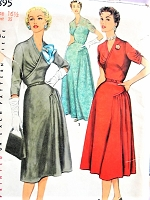 1950s BEAUTIFUL Day or Evening Dress Pattern SIMPLICITY 4895 Flattering Bodice Surplice Effect, Beautifully Styled Bust 35 Vintage Sewing Pattern FACTORY FOLDED