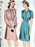 1940s PRETTY Shirtdress Pattern SIMPLICITY 4906 Two Style Versions Bust 38 Vintage Sewing Pattern
