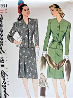 Vintage 1940s LOVELY Two Piece Dress in Two Styles with Bow Details Simplicity 4931 Sewing Pattern Bust 34