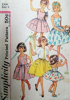 1960s PRETTY Little Girls Sun Dress Wardrobe Pattern SIMPLICITY 4968 Includes Jacket Size 6 Childrens Vintage Sewing Pattern