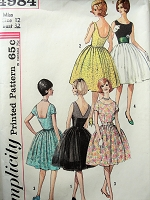 1960s Vintage LOVELY Dress in Three Styles with Cummerbund and Full Skirt Simplicity 4984 Sewing Pattern Bust 32