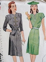 1940s Vintage CHIC Dress with Pockets Simplicity 4984 Bust 34 Sewing Pattern