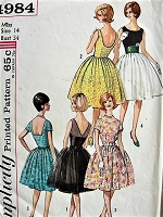 1960s CLASSIC Dress in Three Styles with Cummerbund Simplicity 4984 Bust 34
