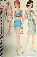 1960s CLASSIC Beach Wear Pattern SIMPLICITY 4995 Bra Top,High Waist Boy Shorts or 2 Pc  SwimSuit and Beach Dress or Overblouse CoverUp Bust 32 Vintage Sewing Pattern