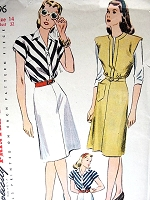 1940s FAB Dress or Jumper Pattern SIMPLICITY 4996 Bust 32 Vintage Sewing Pattern