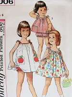 1960s CUTE Little Girls Dress, Top and Panties Pattern SIMPLICITY 5006 Includes Sweet Applique Transfer, Childrens Size 6 Vintage Sewing Pattern