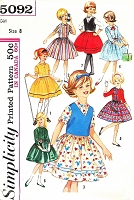 1960s CUTE Girls Seven Day Wardrobe Pattern SIMPLICITY 5092 Dress and Weskit Sweet Styles Size 8 Vintage Childrens Sewing Pattern UNCUT