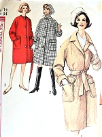 1960s FAB Coat and Scarf Pattern SIMPLICITY 5104 Loose or Belted Coat with Patch Pockets Timeless Classic Design Bust 34 Vintage Sewing Pattern