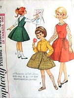1960s CUTE Girls  Blouse, Wrap Around Jumper and Skirt Pattern Size 7 Children's Vintage Sewing Pattern