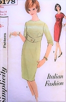1960s CLASSY Slim Dress Pattern SIMPLICITY 5178 ITALIAN Fashion Daytime or Cocktail Party Dress Bust 30 Vintage Sewing Pattern