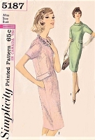 1960s Slim Dress Pattern SIMPLICITY 5187 Day or Dinner After 5 Dress Bust 31 Vintage Sewing Pattern FACTORY FOLDED