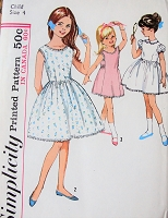 1960s CUTE Little Girls Blouse-Slip and Dress Slip Pattern SIMPLICITY 5249 Three Sweet Styles Childrens Size 4 Vintage Sewing Pattern FACTORY FOLDED