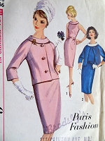 1960s CLASSY Dress and Jacket Pattern SIMPLICITY 5382 Paris Fashion,Daytime or After 5,Bust 36 Vintage Sewing Pattern