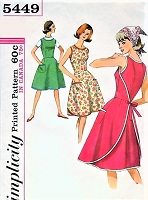 1960s EASY To Make Wrap Around Dress Pattern SIMPLICITY 5449 Cute Easy Style Bust 32 Vintage Sewing Pattern UNCUT