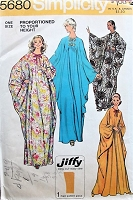 1970s RETRO Caftan in Three Lengths Simplicity 5680 Lounging Hostess Gown Caftan One Size Vintage Sewing Pattern