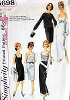 1960s ELEGANT Slim Sheath Evening Dress and Overblouse Pattern SIMPLICITY 5698 Very AUDREY HEPBURN Style Bust 32 Vintage Sewing Pattern