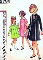CUTE Girls 1960s Dress with Detachable Collar Pattern SIMPLICITY 5732 Three Versions Size 12 Vintage Sewing Pattern UNCUT