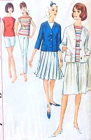 1960s WEEKEND Wardrobe Pattern SIMPLICITY 5838 Slim Pants, Shorts, Pleated Skirt, Top and Cardigan Jacket Bust 34 Vintage Sewing Pattern FACTORY FOLDED