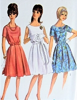 Vintage 1960s CHIC Short or Sleeveless Dress with Gathered Skirt and Belt Simplicity 5865 Sewing Pattern Bust 36