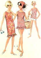 1960s CUTE Beachwear Pattern SIMPLICITY 5974 Shift Dress or Beach Cover Up Blouse, Scarf,Top and Shorts Bust 34 Vintage Sewing Pattern UNCUT