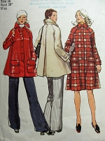 1970s Retro STYLISH Tent Coat Pattern SIMPLICITY 5984 Raglan Sleeves Bust 40 Vintage Sewing Pattern