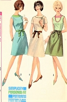 1960s STYLISH Dress Pattern SIMPLICITY 5996 Sleeveless or Short Sleeve A Line Dress with Contrast Color Bust 36 Vintage Sewing Pattern FACTORY FOLDED