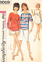1960s CUTE Beachwear Pattern SIMPLICITY 6019 High Waist Walking Shorts or Short Shorts, Over Blouse Top and Beach Cover Up Bust 36 Vintage Sewing Pattern