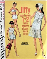 1960s Retro EFFORTLESS Dress, Top, Two Piece Bathing suit, Scarf Simplicity 6020 Bust 32 Vintage Sewing Pattern