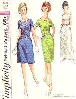 1960s CLASSY Evening Gown Cocktail Party Dress Pattern SIMPLICITY 6028 Three Style Versions,Perfect For Lace, Eyelet, Sheer Fabrics Bust 36 Vintage Sewing Pattern FACTORY FOLDED
