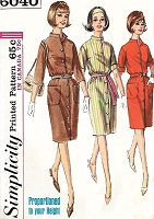 1960s EASY Casual Front Button Dress Pattern SIMPLICITY 6040 Bust 34 Vintage Sewing Pattern FACTORY FOLDED