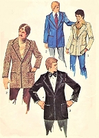 1970s Mens RETRO Casual Sports Blazer or Formal Tuxedo Jacket Pattern SIMPLICITY 6128 Two sizes Chest 42 and 44 Vintage Gentlemens Sewing Pattern UNCUT