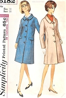 1960s CLASSY Coat Pattern SIMPLICITY 6182 Flattering Princess Seam Slim Coat, Two Collar Styles Bust 32 Vintage Sewing Pattern FACTORY FOLDED