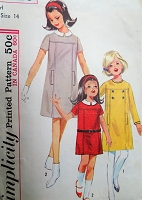 1960s MOD Girls Shift Dress Pattern SIMPLICITY 6212 Two Cute Styles Size 14 Vintage Sewing Pattern