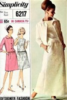 1960s MOD Cocktail Evening Party 2 Pc Dress and Jacket Pattern SIMPLICITY 6217 Designer Fashion Elegant Special Occasion Dress Bust 34 Vintage Sewing Pattern FACTORY FOLDED